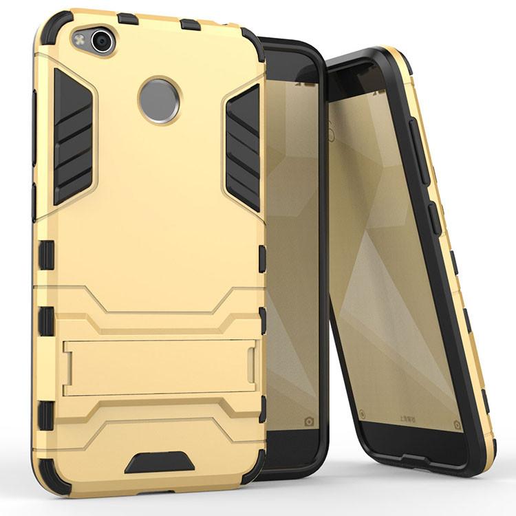 Чехол Iron для Xiaomi Redmi 4X бронированный Бампер Броня Gold