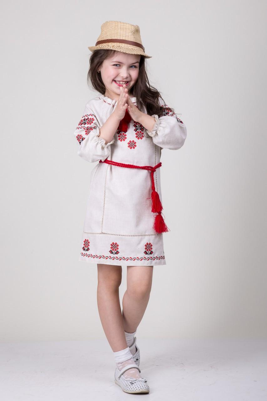 Вышитое подростковое платье для девочки из льна Арина
