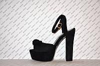 Босоножки замшевые на высоком толстом устойчивом каблуке черные с бантом