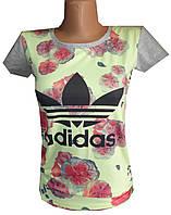 Футболка женская цветы adidas (лето)
