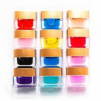 Набор цветного витражного геля для ногтей 12цветов по 7 мл