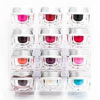 Набор цветного матового геля для ногтей 12цветов по 7 мл