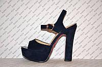 Босоножки замшевые на толстом устойчивом каблуке синие