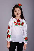 Детская вышиванка для девочки с красными маками, фото 1