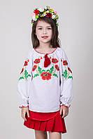 Вышиванка для девочки Маричка с красными маками