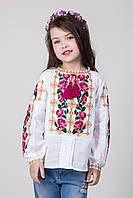 Вышиванка для девочки Розария на домотканом полотне