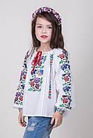 Детская вышиванка для девочки Василина на домотканом полотне