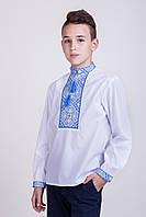 Вышиванка для мальчика Филипп с вышивкой сине-желтого цвета