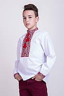 Вышиванка подростковая для мальчика Тарас с красной вышивкой