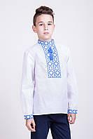 Вышиванка детская для мальчика Тарас с синей вышивкой