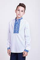 Вышитая сорочка для мальчика с сине-голубой вышивкой, фото 1