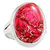 """Серебряный перстень  с океанической варисцидной яшмой """"Розовое"""", размер 17,6 от студии  LadyStyle.Biz"""
