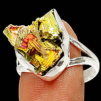 """Разноцветное колечко с золотисто-розовым висмутом """"Пирамиды"""",  размер 19.3   от студии LadyStyle.Biz, фото 1"""