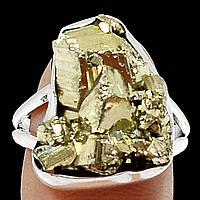 """Серебряное кольцо с пиритом  """"Золотой слиток"""", размер 18  от студии LadyStyle.Biz, фото 1"""