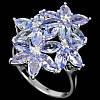 """Яркий перстень с танзанитами  """"Плеяда"""" , размер 18.2 от студии LadyStyle.Biz"""