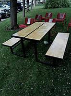 """Пикниковый стол-скамейка трансформер """"Стэлс"""" массив сосны."""