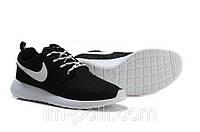 Женские Кроссовки Nike Roshe Run черные с белым, фото 1