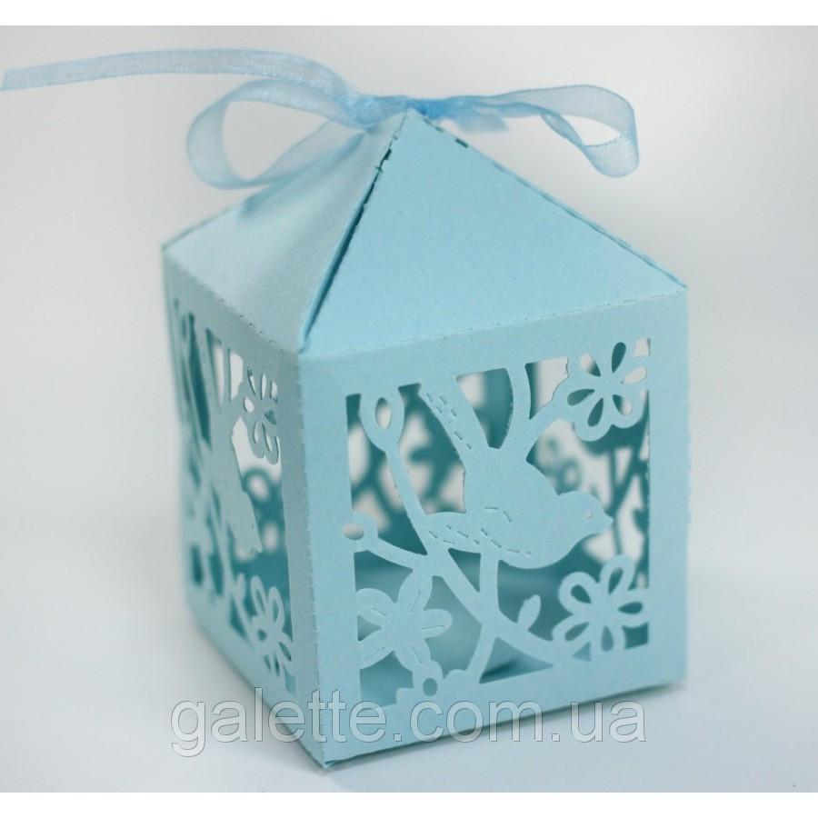 Бонбоньерка птичка голубая упак коробка(белый)(код 02838)