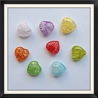 Бусины Crackle Сердце 1,5 см