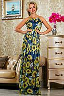 Летнее Шифоновое Платье в Пол в Красивейших Подсолнухах Синее р. 42-44 46-48