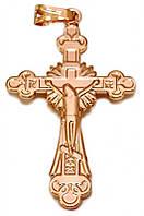 Крестик фирмы MAR, позолота с красным оттенком. Высота крестика: 4,3 см. Ширина 23 мм
