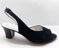 Синие замшевые босоножки на устойчивом каблуке