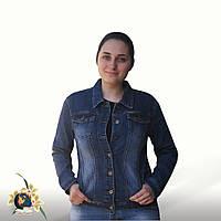 Куртка женская джинсовая большого размера Lady N синего цвета