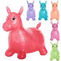 Прыгуны-лошадки MS 0736 (12шт) ПВХ, 1300г, прозрачный, 54-49-26, 6 цветов, в кульке,31-25-10см