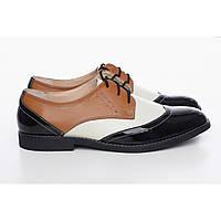 Туфли оксфорды женские (чёрные с белой вставкой и коричневым верхом), фото 1