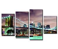 Картина для дома Бруклинский мост в огнях