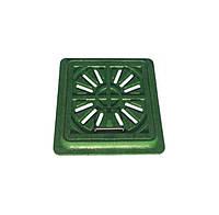 Люк смотровой полимерный садовый, квадратный, 300х300мм. 1.5т, зелёный