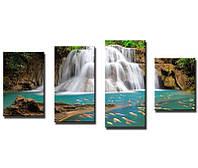 Фотокартина модульная Водопад с карпами