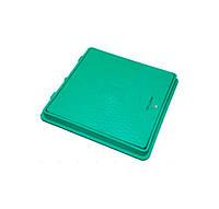 Люк канализационный полимерный, квадратный с замком, 650х650мм. 1.5т, зелёный