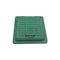 Люк смотровой полимерный садовый, квадратный, 500х500мм. 1.5т, зелёный