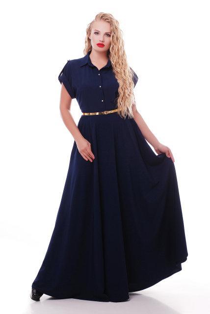 Женское платье макси Алена цвет синий 48-54 / больших размеров