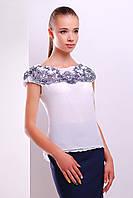 Белая летняя блузка из шифона с коротким рукавом Узор темно синий блуза Жулли2 б/р