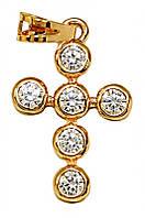 Крестик фирмы Хuping, позолота. Камень: белый циркон. Высота 2,5 см. ширина 14 мм.