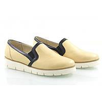 Женские кожаные бежевые туфли, фото 1