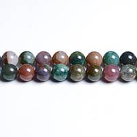 Зелёная Яшма, Натуральный камень, На нитях, бусины 8 мм, Круглые, Отверстие 1 мм, количество: 47-48 шт/нить