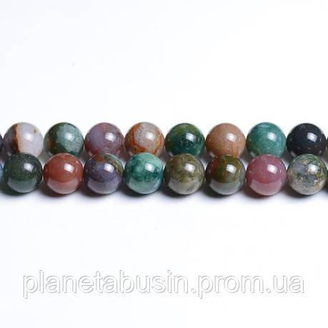 8 мм Фантазийная Яшма, CN192, Натуральный камень, Форма: Шар, Отверстие: 1мм, кол-во: 47-48 шт/нить, фото 2