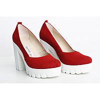 Красные женские замшевые туфли, фото 1