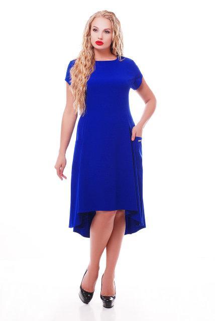 Женское платье Милана короткий рукав цвет электрик размер 50-56 / больших размеров