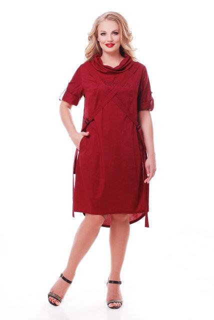 Женское хлопковое платье Берта цвет бордо 48-58 / больших размеров