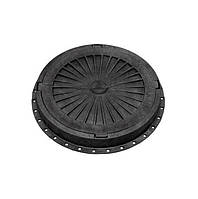 Люк канализационный полимерный с замком, Ø750мм. 5т, чёрный