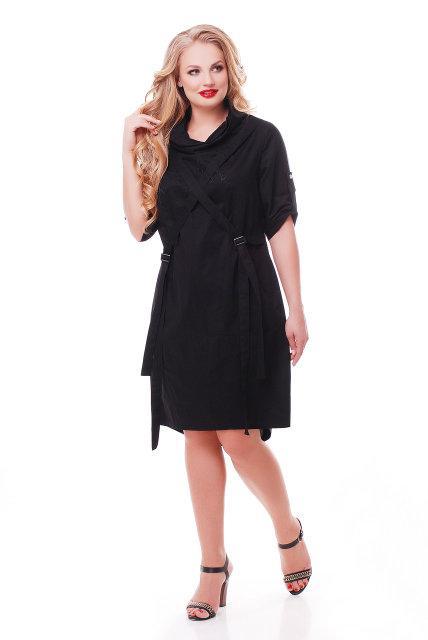 Женское хлопковое платье Берта цвет черный 48-58 / больших размеров