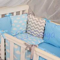Детский комплект постельного белья  Беби дизайн цвет облачки 6 единиц