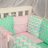 Дитячий комплект постільної білизни Бебі дизайн колір зигзаги рожево-м'ятні 7 одиниць