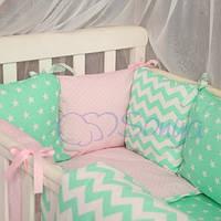 Детский комплект постельного белья  Беби дизайн цвет зигзаги розово-мятные 6 единиц