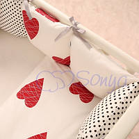 Детский комплект постельного белья  Беби дизайн цвет сердца 6 единиц