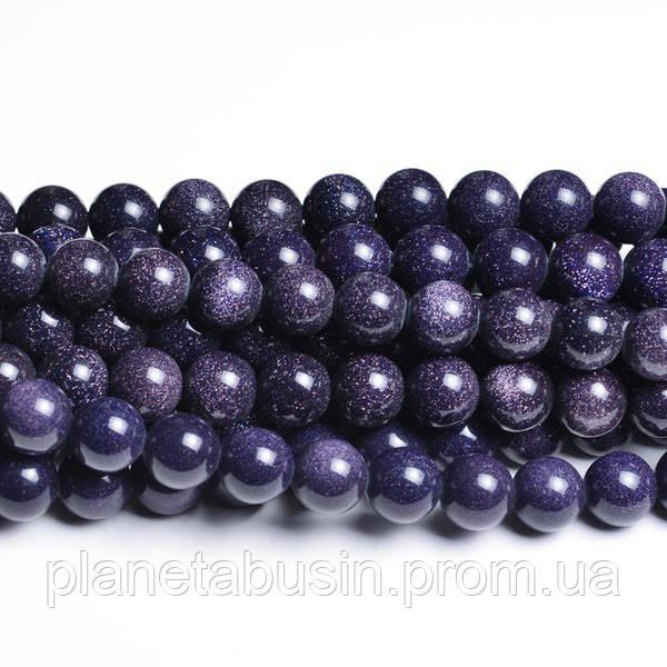 6 мм Синий Авантюрин, Натуральный камень, Голдстоун, бусины 6 мм, Отверстие 1 мм, количество:60-62 шт/нить